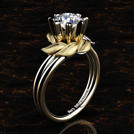 Nature Inspired 14K Yellow Gold 1.0 Ct White Sapphire Leaf and Vine Engagement Ring R440-14KYGSWS