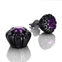 Modern 14K Black Gold 1.0 Ct Amethyst Crown Stud Earrings E304-14KBGSAM