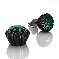 Modern 14K Black Gold 1.0 Ct Emerald Crown Stud Earrings E304-14KBGSEM