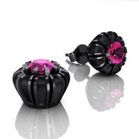 Modern 14K Black Gold 1.0 Ct Pink Sapphire Crown Stud Earrings E304-14KBGSPS