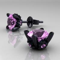 Modern 14K Black Gold 1.5 Ct Light Pink Sapphire Stud Earrings E137-14KBGLPS
