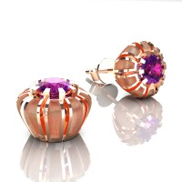 Modern 14K Rose Gold 1.0 Ct Amethyst Crown Stud Earrings E304-14KRGSAM