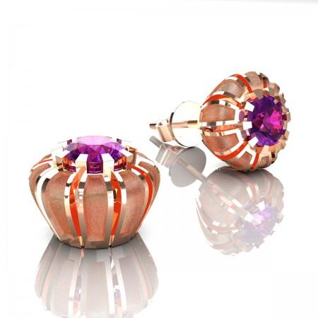Modern-14K-Rose-Gold-1-0-Ct-Ameethyst-Crown-Stud-Earrings-E304P-14KRGSAM