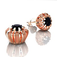Modern 14K Rose Gold 1.0 Ct Black Diamond Crown Stud Earrings E304-14KRGSBD