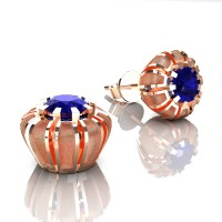 Modern 14K Rose Gold 1.0 Ct Blue Sapphire Crown Stud Earrings E304-14KRGSBS