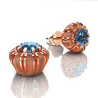 Modern 14K Rose Gold 1.0 Ct Blue Topaz Crown Stud Earrings E304-14KRGSBT