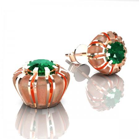 Modern-14K-Rose-Gold-1-0-Ct-Emerald-Crown-Stud-Earrings-E304P-14KRGSEM