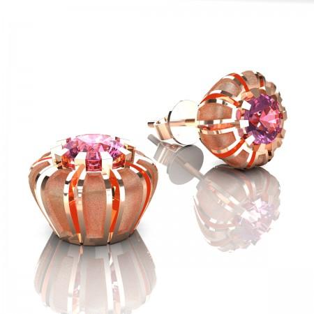 Modern-14K-Rose-Gold-1-0-Ct-Light-Pink-Sapphire-Crown-Stud-Earrings-E304P-14KRGSLPS-Art-Masters-Jewelry