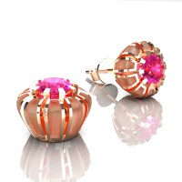 Modern 14K Rose Gold 1.0 Ct Pink Sapphire Crown Stud Earrings E304-14KRGSPS
