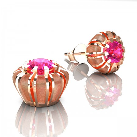 Modern-14K-Rose-Gold-1-0-Ct-Pink-Sapphire-Crown-Stud-Earrings-E304P-14KRGSPS