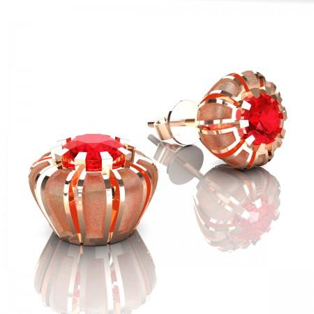 Modern-14K-Rose-Gold-1-0-Ct-Ruby-Crown-Stud-Earrings-E304P-14KRGSR-Art-Masters-Jewelry