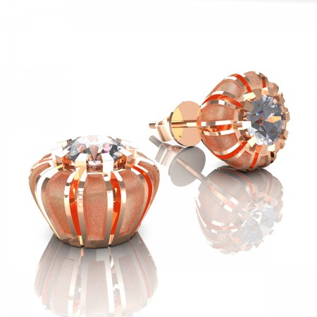 Modern-14K-Rose-Gold-1-0-Ct-White-Sapphire-Crown-Stud-Earrings-E304P-14KRGSWS