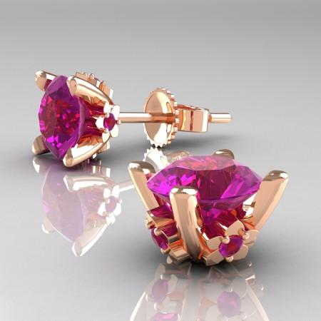 Modern-14K-Rose-Gold-1-5-Carat-Amethyst-Grape-Leaf-Stud-Earrings-E137-14KRGAM