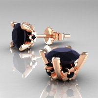 Modern 14K Rose Gold 1.5 Ct Black Diamond Stud Earrings E137-14KRGBD