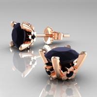 Modern 14K Rose Gold 1.5 Ct Black Diamond Stud Earrings E137-14KRGBD
