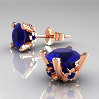 Modern 14K Rose Gold 1.5 Ct Blue Sapphire Stud Earrings E137-14KRGBS