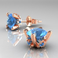 Modern 14K Rose Gold 1.5 Ct Blue Topaz Stud Earrings E137-14KRGBT