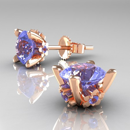 Modern-14K-Rose-Gold-1-5-Carat-Light-Blue-Sapphire-Grape-Leaf-Stud-Earrings-E137-14KRGLBS