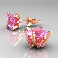 Modern 14K Rose Gold 1.5 Ct Light Pink Sapphire Stud Earrings E137-14KRGLPS