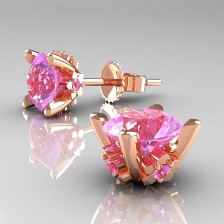 Modern-14K-Rose-Gold-1-5-Carat-Light-Pink-Sapphire-Grape-Leaf-Stud-Earrings-E137-14KRGLPS