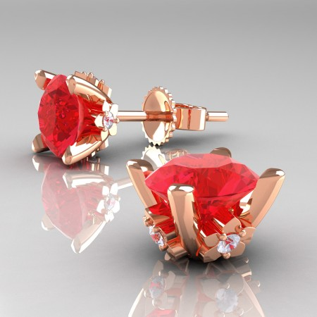 Modern-14K-Rose-Gold-1-5-Carat-Light-Ruby-Diamond-Grape-Leaf-Stud-Earrings-E137-14KRGDR