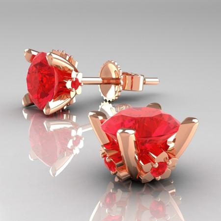 Modern-14K-Rose-Gold-1-5-Carat-Light-Ruby-Grape-Leaf-Stud-Earrings-E137-14KRGR