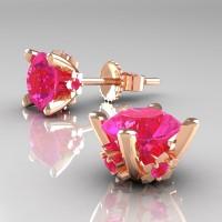 Modern 14K Rose Gold 1.5 Ct Pink Sapphire Stud Earrings E137-14KRGPS