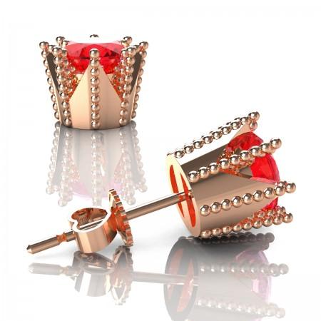 Modern-14K-Rose-Gold-3-0-Carat-Ruby-Crown-Stud-Earrings-E102L-14KRGR-Art-Masters-Jewelry