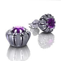 Modern 14K White Gold 1.0 Ct Amethyst Crown Stud Earrings E304-14KWGSAM