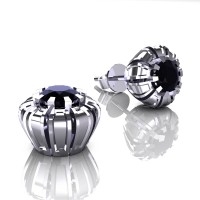 Modern 14K White Gold 1.0 Ct Black Diamond Crown Stud Earrings E304-14KWGBD