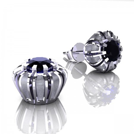 Modern-14K-White-Gold-1-0-Ct-Black-Diamond-Crown-Stud-Earrings-E304P-14KWGSBD- Art-Masteers-Jewelry