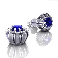 Modern 14K White Gold 1.0 Ct Blue Sapphire Crown Stud Earrings E304-14KWGSBS