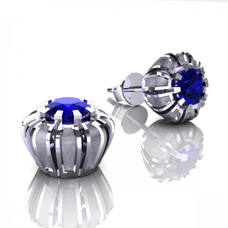 Modern-14K-White-Gold-1-0-Ct-Blue-Sapphire-Petite-Crown-Stud-Earrings-E304P-14KWGSBS
