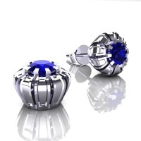 Modern 14K White Gold 1.0 Ct Blue Sapphire Crown Stud Earrings E304-14KWGBS