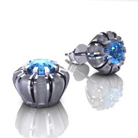 Modern 14K White Gold 1.0 Ct Blue Topaz Crown Stud Earrings E304-14KWGSBT