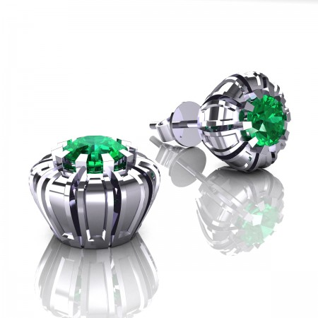 Modern-14K-White-Gold-1-0-Ct-Emerald-Crown-Stud-Earrings-E304P-14KWGEM
