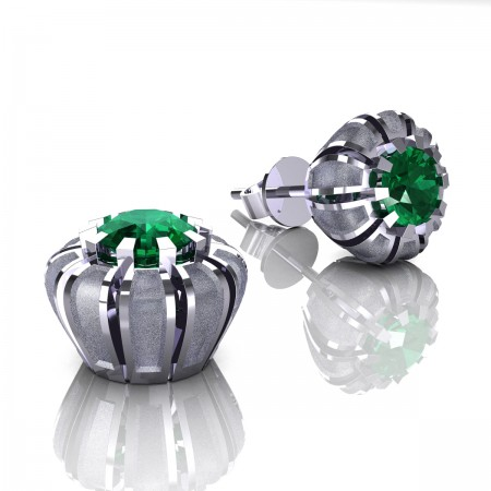 Modern-14K-White-Gold-1-0-Ct-Emerald-Crown-Stud-Earrings-E304P-14KWGSEM