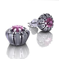 Modern 14K White Gold 1.0 Ct Light Pink Sapphire Crown Stud Earrings E304-14KWGSLPS