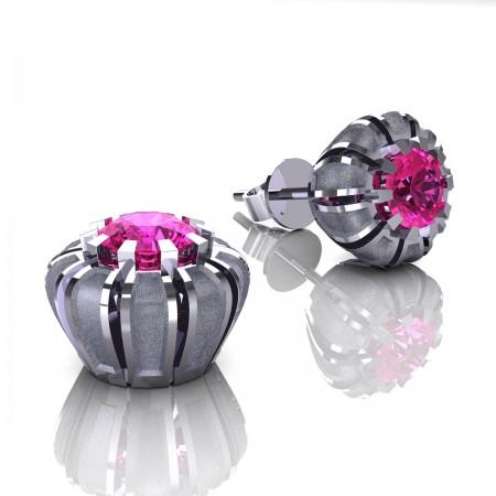 Modern-14K-White-Gold-1-0-Ct-Pink-Sapphire-Crown-Stud-Earrings-E304P-14KWGSPS
