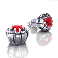 Modern 14K White Gold 1.0 Ct Ruby Crown Stud Earrings E304-14KWGR