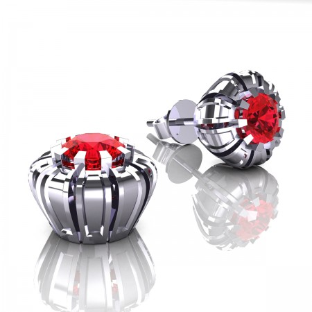 Modern-14K-White-Gold-1-0-Ct-Ruby-Crown-Stud-Earrings-E304P-14KWGR-2