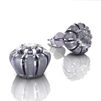 Modern 14K White Gold 1.0 Ct White Sapphire Crown Stud Earrings E304-14KWGSWS