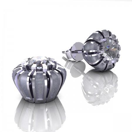 Modern-14K-White-Gold-1-0-Ct-White-Sapphire-Crown-Stud-Earrings-E304P-14KWGSWS