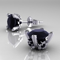 Modern 14K White Gold 1.5 Ct Black Diamond Stud Earrings E137-14KWGBD