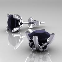 Modern 14K White Gold 1.5 Ct Black Diamond Stud Earrings E137-14KWGBD
