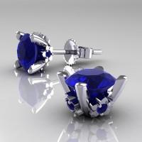 Modern 14K White Gold 1.5 Ct Blue Sapphire Stud Earrings E137-14KWGBSModern 14K White Gold 1.5 Ct Blue Sapphire Stud Earrings E137-14KWGBS