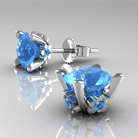 Modern-14K-White-Gold-1-5-Carat-Blue-Topaz-Grape-Leaf-Stud-Earrings-E137-14KWGBT