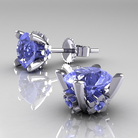 Modern-14K-White-Gold-1-5-Carat-Light-Blue-Sapphire-Grape-Leaf-Stud-Earrings-E137-14KWGLBS