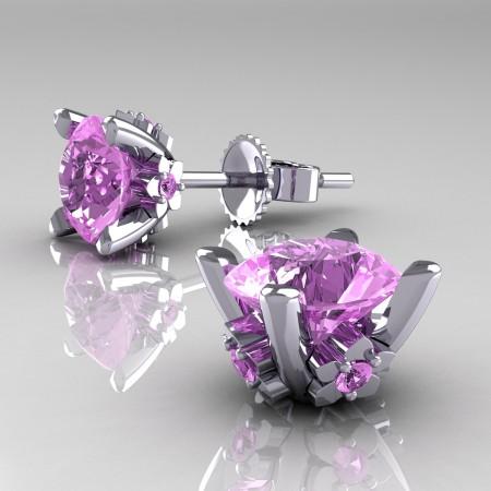 Modern-14K-White-Gold-1-5-Carat-Light-Pink-Sapphire-Grape-Leaf-Stud-Earrings-E137-14KWGLPS