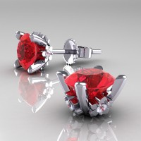 Modern 14K White Gold 1.5 Ct Ruby Diamond Stud Earrings E137-14KWGDR